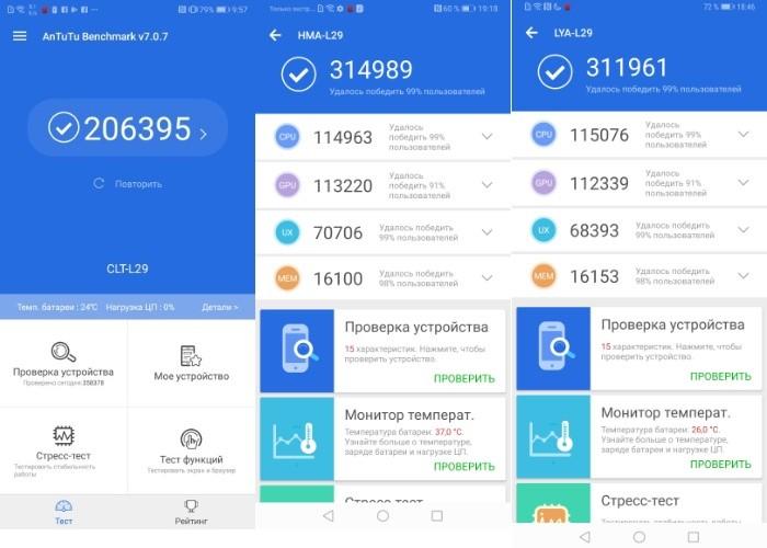 тесты Huawei Mate 20 Pro  Huawei Mate 20 и Huawei P20 Pro