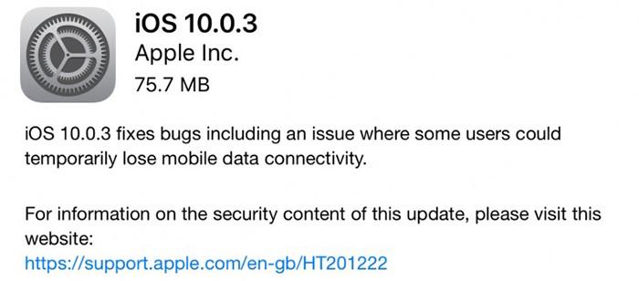 Apple выпустила iOS 10.0.3 для устранения проблемы с передачей данных в iPhone 7