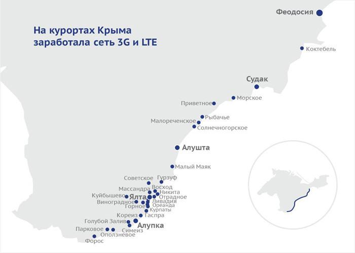 На курортах Крыма заработала сеть 3G и LTE